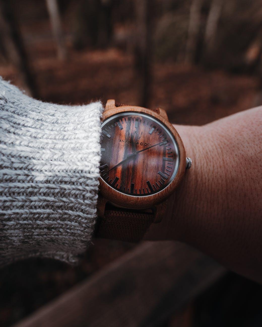 round brown analog watch